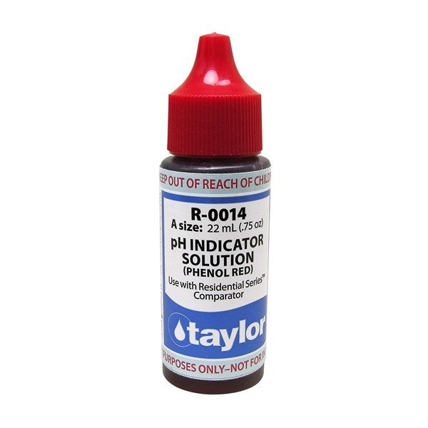 pH Indicator Solution (for Residential Series™), Phenol Red, .75 oz, Dropper Bottle .75OZ
